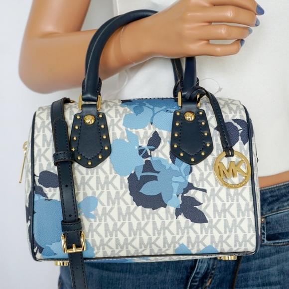 99fe25286ab7 Michael Kors Bags | Nwt Aria Small Satchel Navy Floral | Poshmark